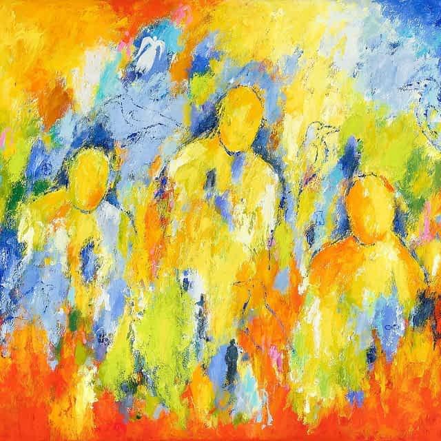 """Lene Schmidt-Petersen: """"Mennesker vi holder af"""" (120x100 cm)"""