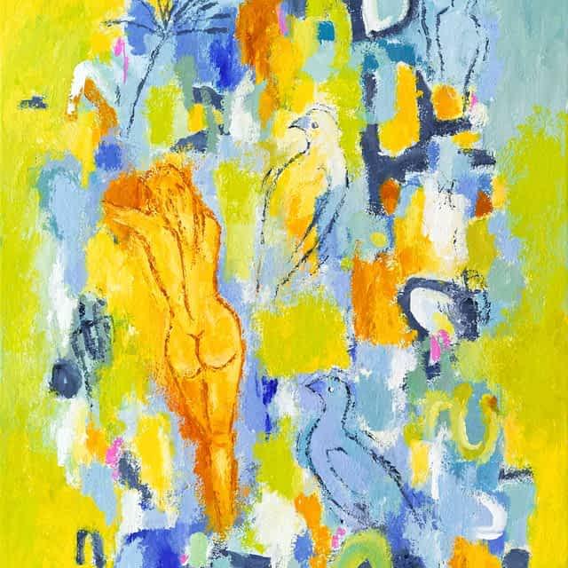 """Lene Schmidt-Petersen: """"Lyt til den stemme du tror, du ikke har, og gå den vej du ikke tror findes"""" (60x80 cm)"""