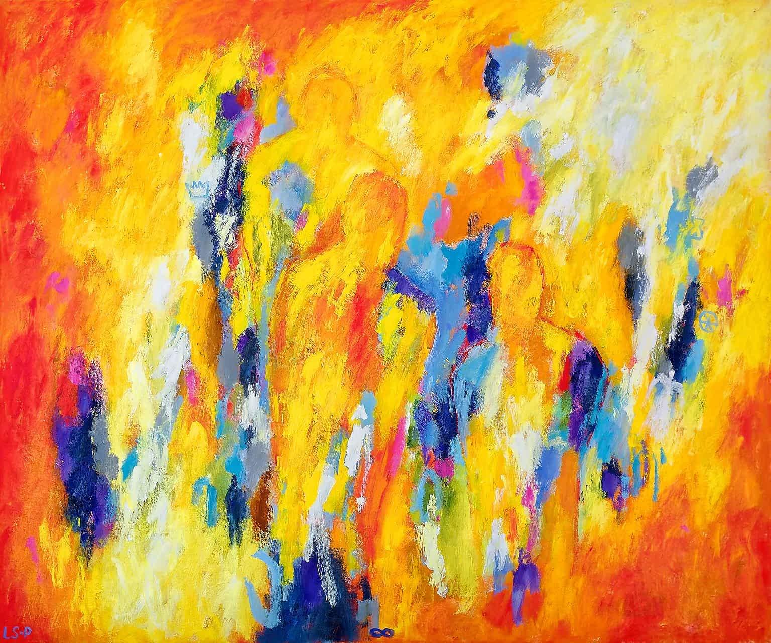 """Lene Schmidt-Petersen: """"Poesiens røde rum"""" (120x100 cm)"""