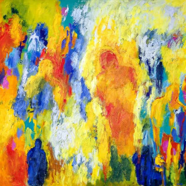 """Lene Schmidt-Petersen: """"Mennesker i den gode verden"""" (120x100 cm)"""