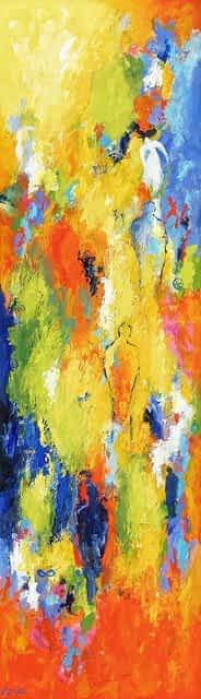 """Lene Schmidt-Petersen: """"På vej ind i det levende land"""" (35x120 cm)"""