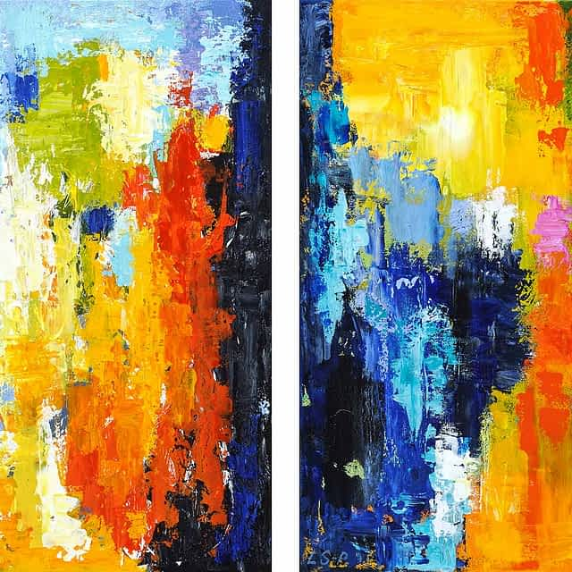 "Lene Schmidt-Petersen: ""A peaceful moment"" (I og II, 50x50 cm)"