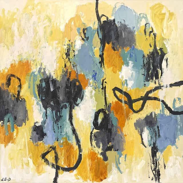 """Lene Schmidt-Petersen: """"Den stille vandring mod bedre dage"""" (80x80 cm)"""