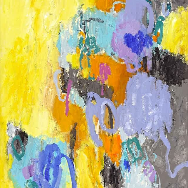 """Lene Schmidt-Petersen: """"Et øjeblik hvor dagens farve trænger sig på"""" (80x100 cm)"""