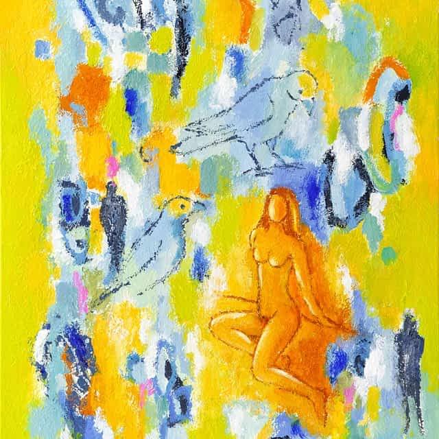 """Lene Schmidt-Petersen: """"Nyd den lyse dag og velsign gråvejret"""" (60x80 cm)"""