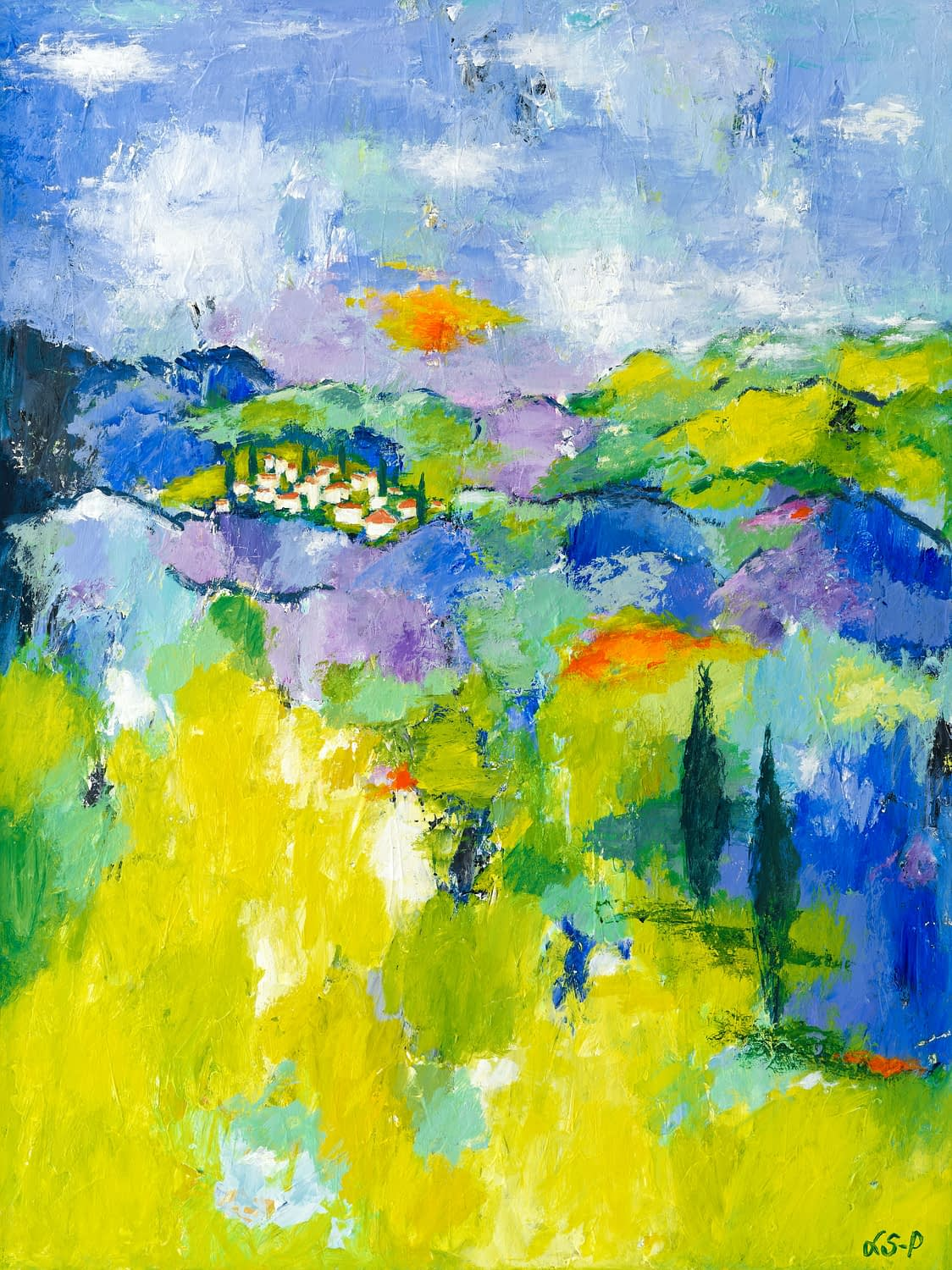 """Lene Schmidt-Petersen: """"Let's go down to the south of France (where we can love, I think there is a chance)"""" (60 x 80 cm)"""