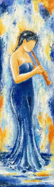 "Lene Schmidt-Petersen: ""Fløjtespiller"" (35x120 cm)"
