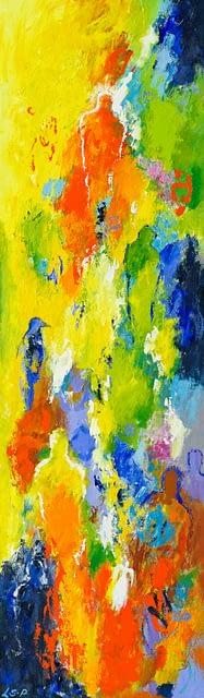 """Lene Schmidt-Petersen: """"Tanker om sommertidens farver"""" (35 x 120 cm)"""