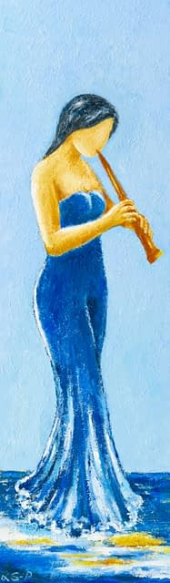 "Lene Schmidt-Petersen: ""Fløjtespiller"" (35 x 120 cm)"