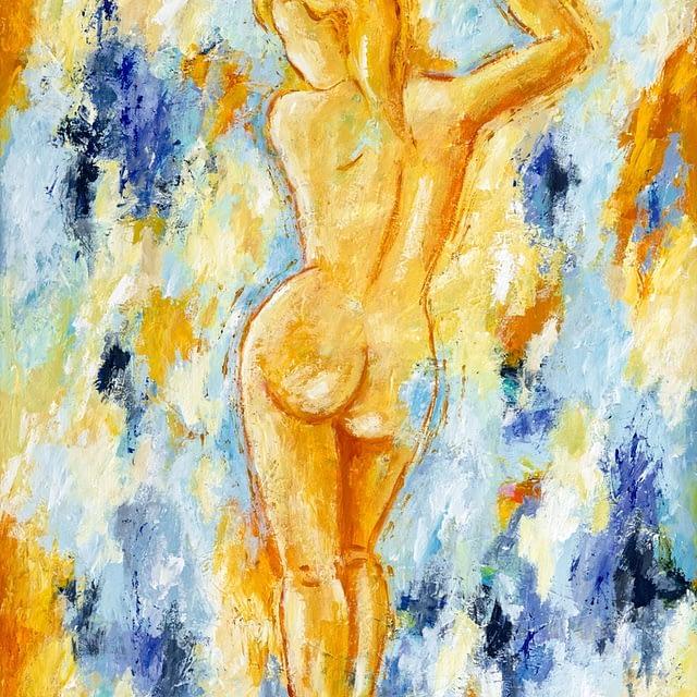 """Lene Schmidt-Petersen: """"Pigen der mærker livets sang"""" (60 x 80 cm)"""