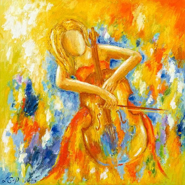 "Lene Schmidt-Petersen: ""En gylden aften for cellisten"" (60 x 60 cm)"