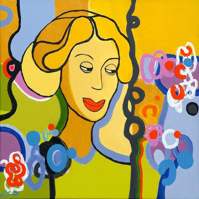 "Lene Schmidt-Petersen: ""Kristin Marja"" (50x50 cm)"