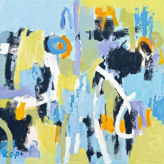 """Lene Schmidt-Petersen: """"Da lykken kom tilbage"""" (50 x 50 cm)"""