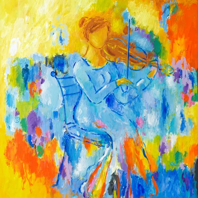"""Lene Schmidt-Petersen: """"Violinistens iagttagende bevidsthed"""" (80 x 100 cm)"""