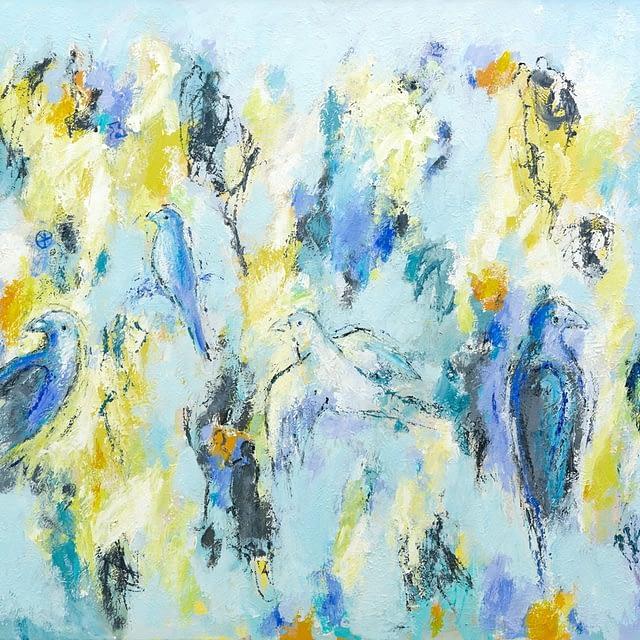 """Lene Schmidt-Petersen: """"Fugle på vej mod lysere tider"""" (100 x 80 cm)"""