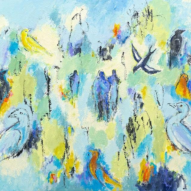 """Lene Schmidt-Petersen: """"Fugle i det blå univers"""" (100 x 80 cm)"""