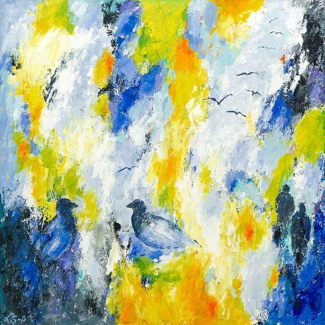 """Lene Schmidt-Petersen: """"De steg op mod den syvende himmel og fandt øjeblikkets uendelige forlængelse"""" (80 x 80 cm)"""