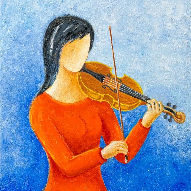 """Lene Schmidt-Petersen: """"The violinist in red"""" (60 x 80 cm)"""