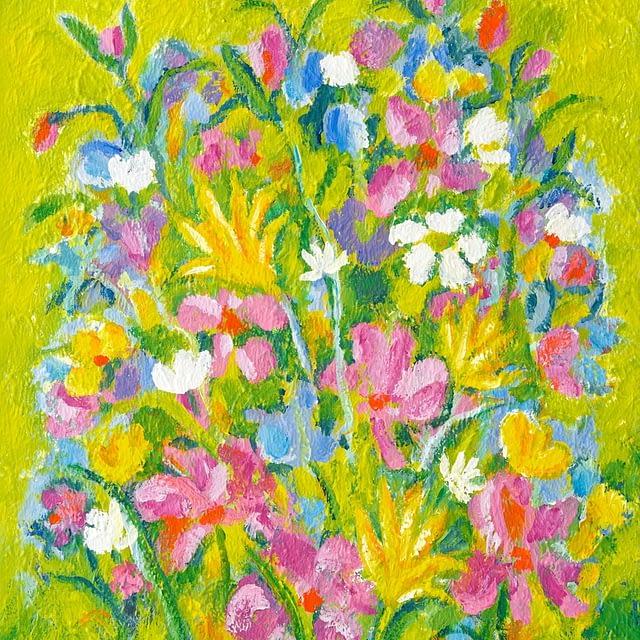 "Lene Schmidt-Petersen: ""The sun is shining on my flower garden"" (50 x 60 cm)"