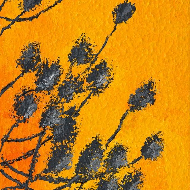 """Lene Schmidt-Petersen: """"Skyggeplanter mod orange mur"""" (20 x 30 cm)"""