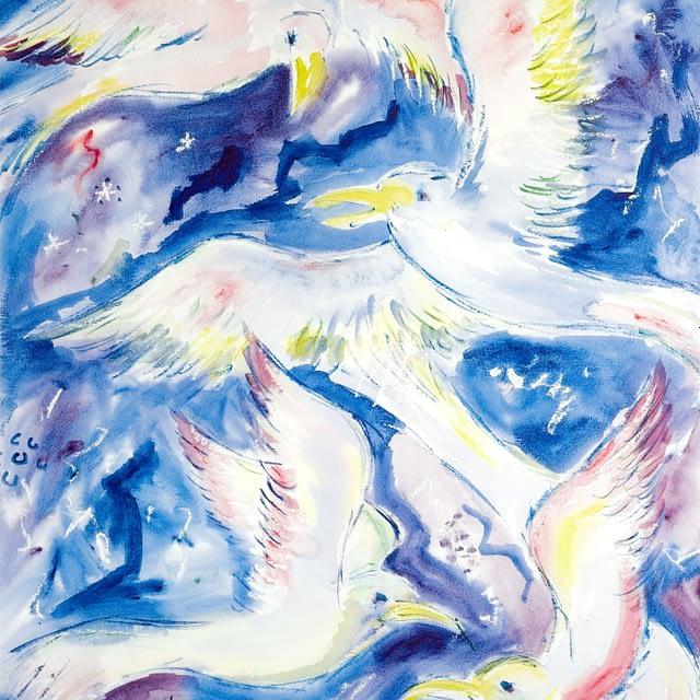 """Lene Schmidt-Petersen: """"Fugle på den blå himmel"""" (44 x 60 cm)"""