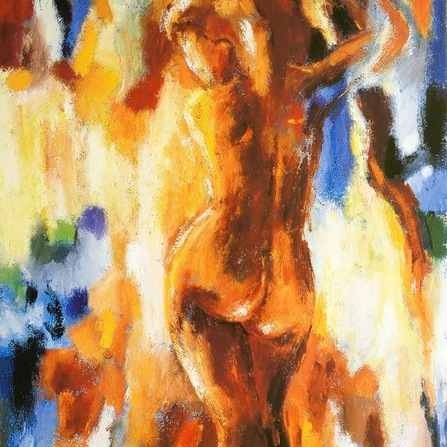 """Lene Schmidt-Petersen: """"Woman in warm colours I"""" (42 x 55 cm)"""