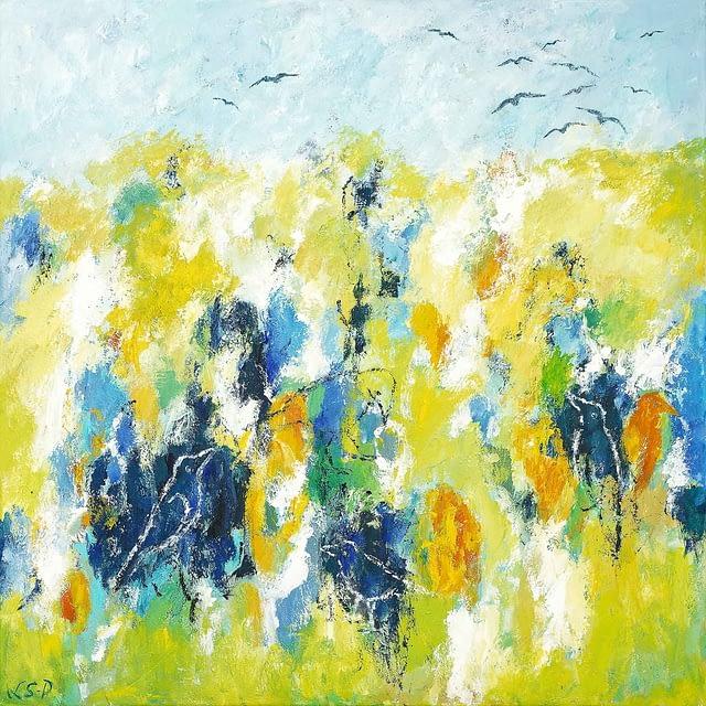 """Lene Schmidt-Petersen: """"Fugle i forårslandskab"""" (80x80 cm)"""
