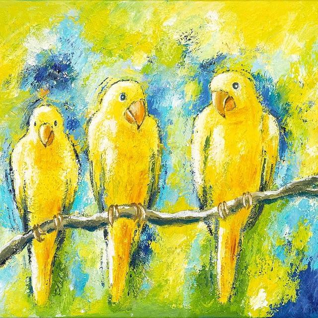 "Lene Schmidt-Petersen: ""Tre gule undulater føler sig godt tilpas"" (50x40 cm)"