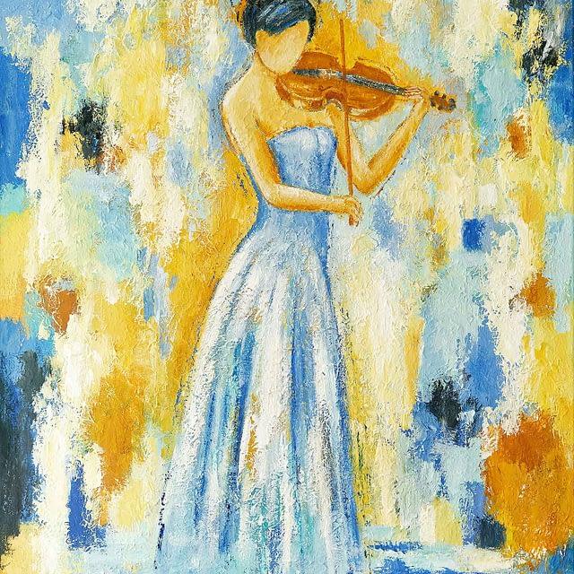 """Lene Schmidt-Petersen: """"Violinist"""" (60x80 cm)"""