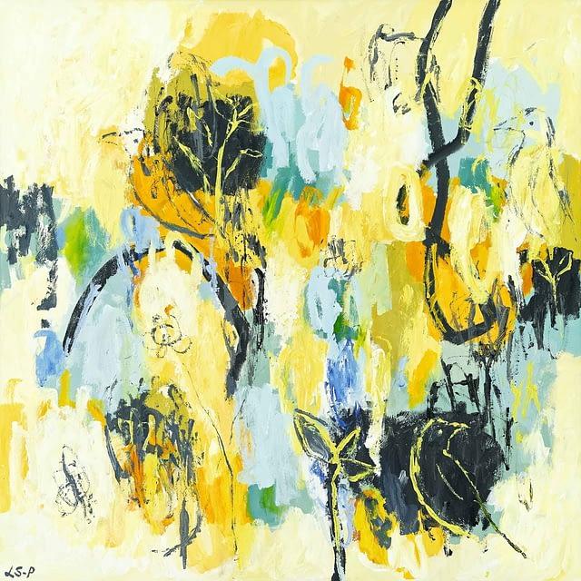 """Lene Schmidt-Petersen: """"Der er noget ved livet man ikke finder andre steder"""" (80x80 cm)"""