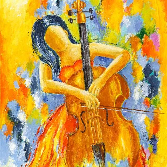 """Lene Schmidt-Petersen: """"Cellist"""" (60x80 cm)"""