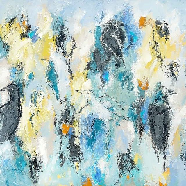 """Lene Schmidt-Petersen: """"Fugle på vej mod lysere tider"""" (100x80 cm)"""