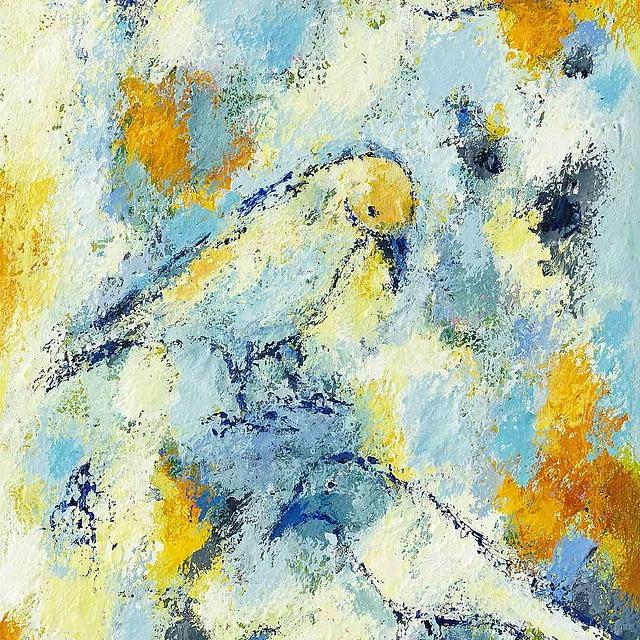 """Lene Schmidt-Petersen: """"Fuglenes lykkelige dag"""" (35x70 cm)"""