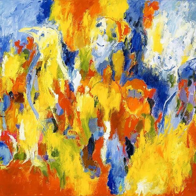 """Lene Schmidt-Petersen: """"Farven brister med lyset fra deres øjne"""" (150x100 cm)"""