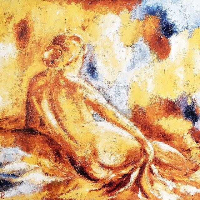 """En dejlig dag i det varme morgenlys"" (59 x 45 cm)"
