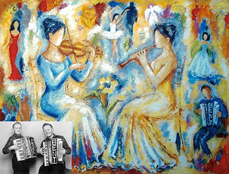 Musikpiger til Bents 70 års fødselsdag, det er Bent på harmonikaen