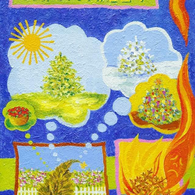 """Lene Schmidt-Petersen: """"Grantræet"""" (30x40 cm)"""