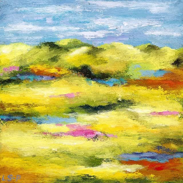 "Lene Schmidt-Petersen: ""Et roligt landskab"" (30x30 cm)"