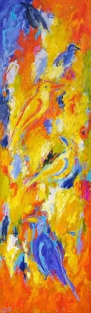"""Lene Schmidt-Petersen: """"Solens ømhed favner dem"""" (35x120 cm)"""