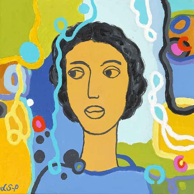 """Lene Schmidt-Petersen: """"Rosa"""" (40x40 cm)"""
