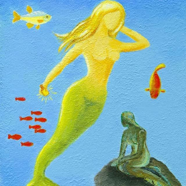 """Lene Schmidt-Petersen: """"Den lille havfrue"""" (30x40 cm)"""