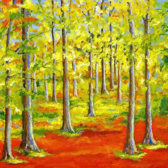 "Lene Schmidt-Petersen: ""Efterårsstemning i Dyreborg skov"" (120x100 cm)"