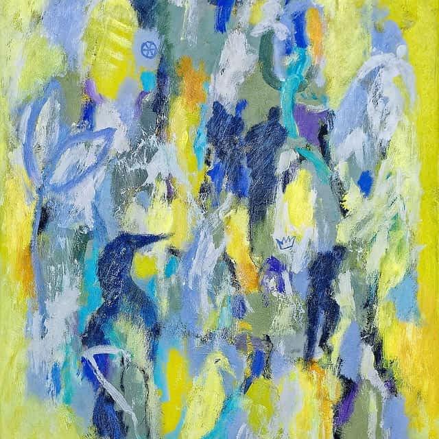 """Lene Schmidt-Petersen: """"Fugle og pletter af forår"""" (60x80 cm)"""