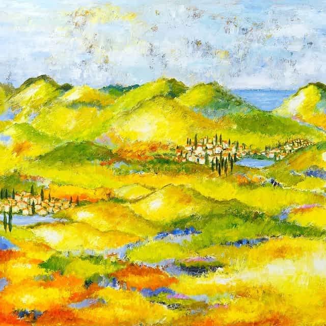 """Lene Schmidt-Petersen: """"Toscana"""" / """"Lad os rulle ind i kærlighedshistorien mellem de to byer"""" (120x100 cm)"""