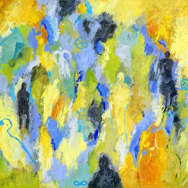 """Lene Schmidt-Petersen: """"Blå dage på en varm sommer"""" (80x60 cm)"""