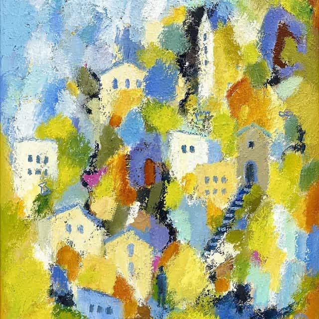 """Lene Schmidt-Petersen: """"En by med gode mennesker"""" (60x80 cm)"""